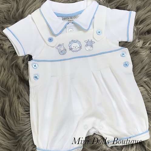 White Dungaree Set