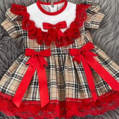 Beige Tartan Bow Dress