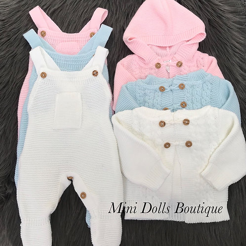 Knitted Dungaree & Hooded Cardigan