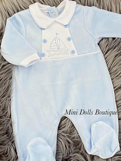 Sailboat Velour Babygrow