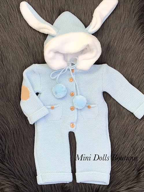 Blue Bunny Knitted Pramsuit