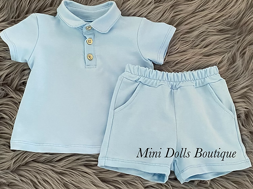 Sky Blue Polo Shorts Set
