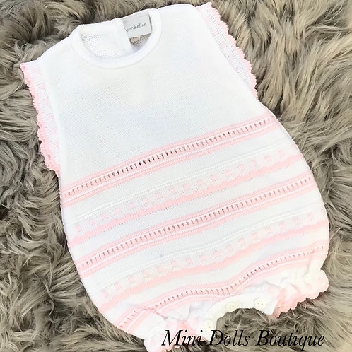 White & Pink Knitted Romper