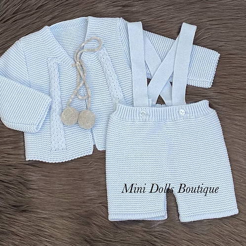 Blue Knitted Shorts Set
