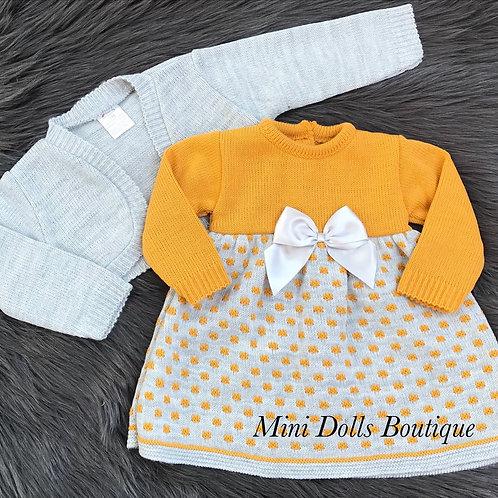 Grey & Mustard Knitted Dress Set