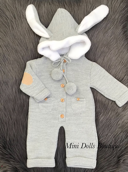 Grey Bunny Knitted Pramsuit
