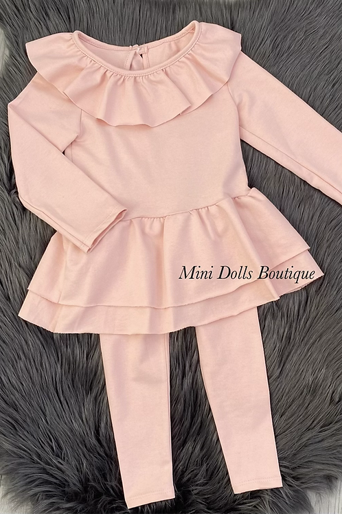 Older Girls Pink Bow Legging Set