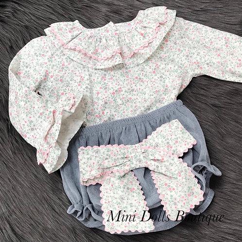 Floral Frill Sleeved 2 Piece