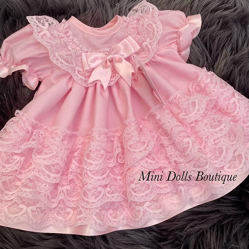 Pink Lace Frills Dress