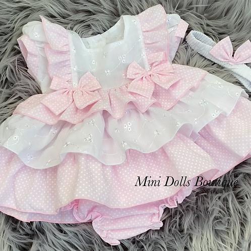 Pink & White Tiered Dress Set