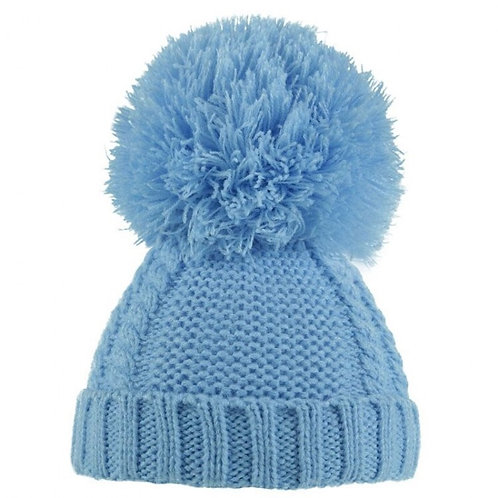 Blue Cable Pom Pom Hat 6-18m