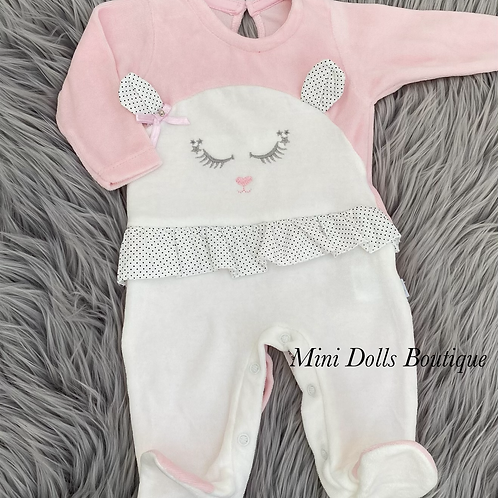 Bunny Frill Velour Babygrow