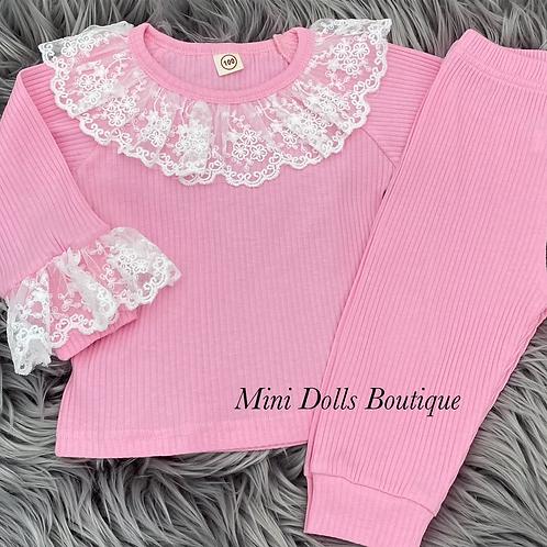 Pink Lace Lounge Set