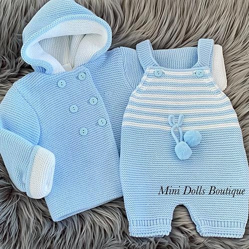 Blue Knitted Jacket & Romper Set