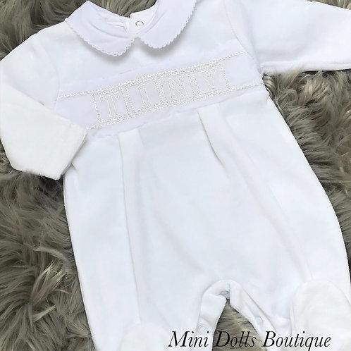 White Tiny Velour Babygrow