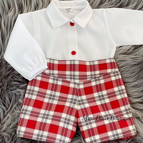 Red Checked Shorts Set