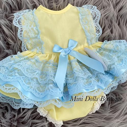 Lemon & Blue Lace Dress Set