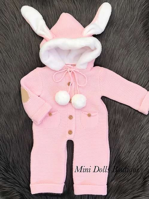 Pink Bunny knitted Pramsuit
