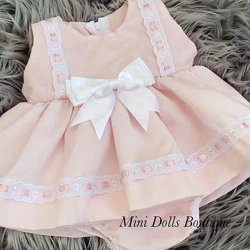 Pink Ribbon Slotted Dress Set