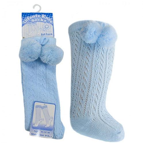 Blue Pelerine Pom Pom Socks