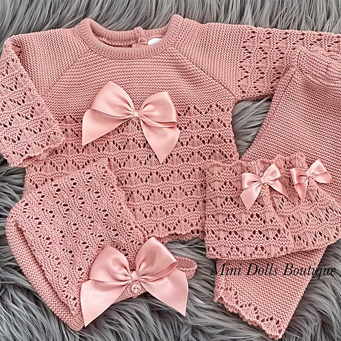 Dusky Pink Knitted 4 Piece