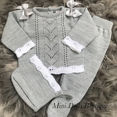 Grey Knitted 3 Piece (0-3m)