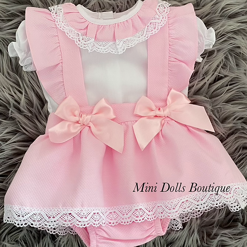 Pink Double Bow Skirt Set