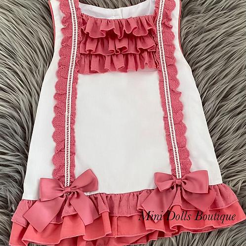 Cerise Pink Bow Lace Dress