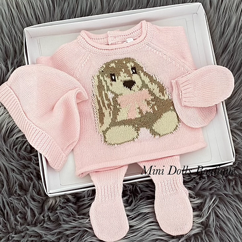 Pink Bunny Knitted Set