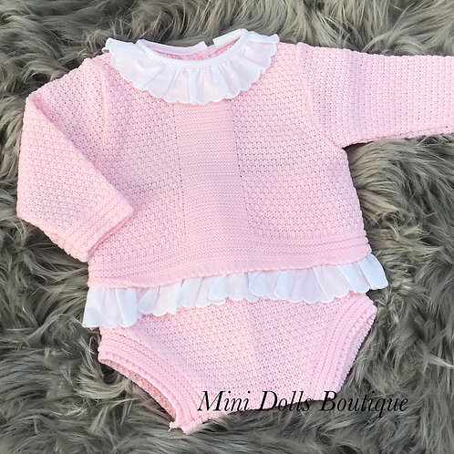 Pink Knitted Frill 2 Piece