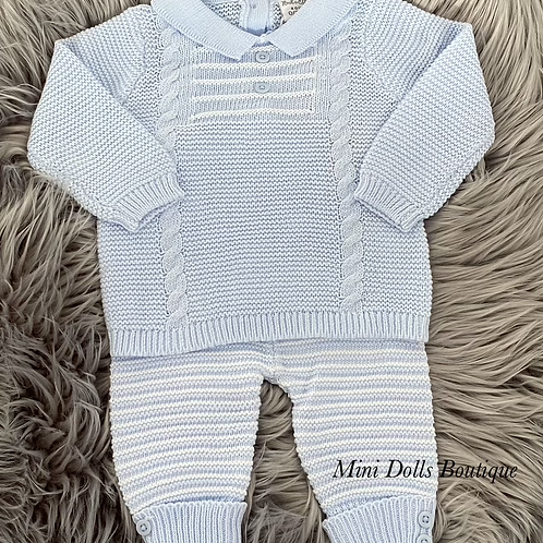 Blue & White Knitted 2 Piece