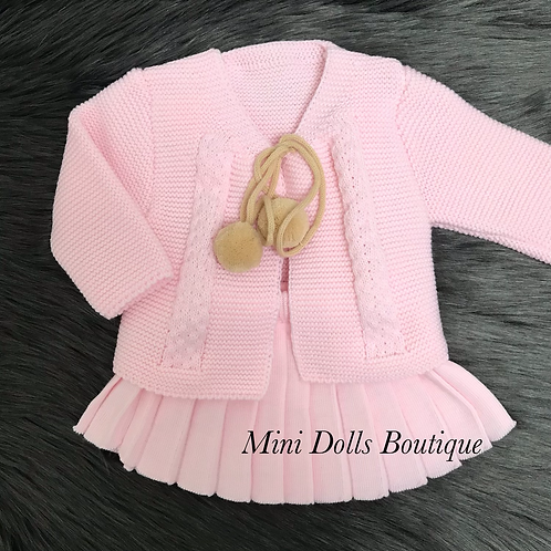 Pink Knitted Skirt Set