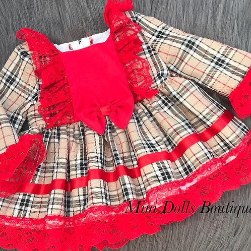 Beige Tartan Lace Dress