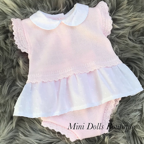 Pink Frilly Knitted Set