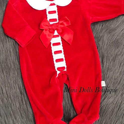 Red Ribbon Slotted Babygrow