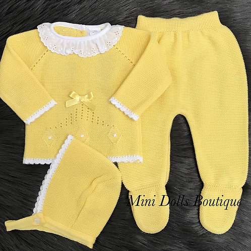 Yellow Frill Collar Knitted Set
