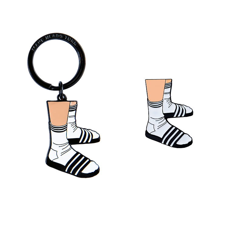 Socks And Slippers Keychain And Pin