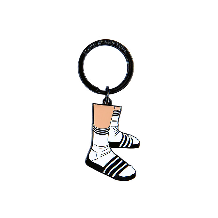"Enamel Keychain ""Socks and Slippers"""
