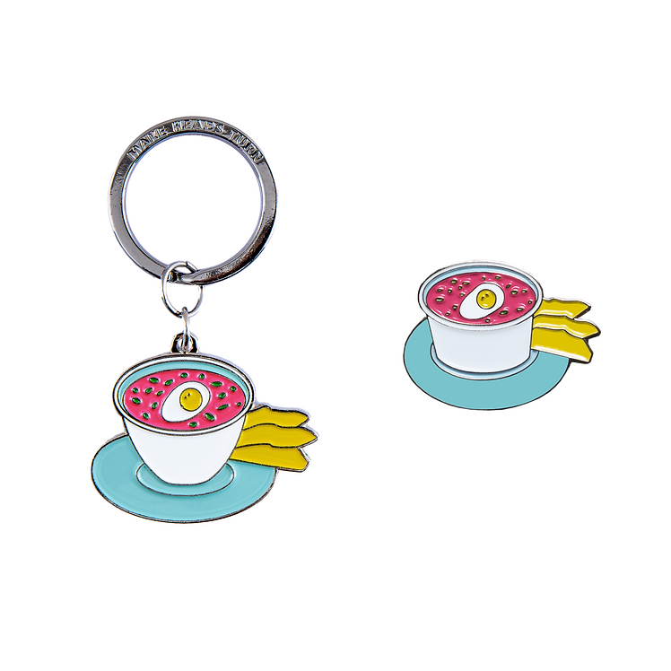 PINK COLD SOUP KEYCHAIN AND PIN
