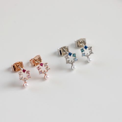 Hexagonal lattice Pearl Drop Ear Studs - MOOII