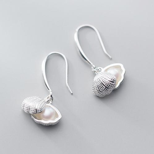 Seashell Pearl 925 Silver Earrings - Mooii