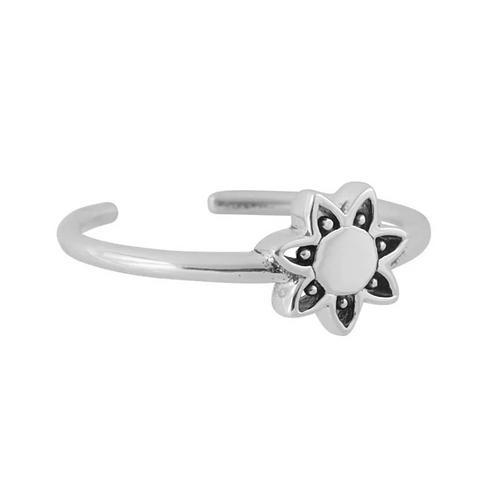 Sol Mandala Adjustable Sterling Silver Ring
