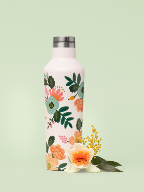 Corkcicle Rifle Paper Canteen 475ml - Cream Lively Floral