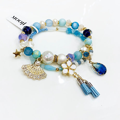 MOOII Handcrafted Bracelet - Blue/pearl Beads Folding Fan and Sapphire Pendant