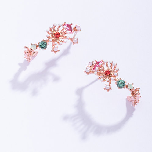 Flower Stamen Arc Stud Earring - MOOII