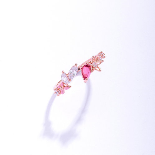 Hollow Out Lily Flower and Tear Drop Crystal Ring - MOOII