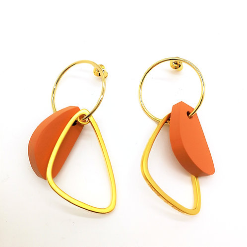 Geometric Orange Block with Circle Earring - MOOII