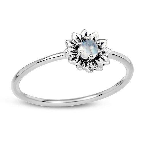 Delicate Sunflower Moonstone Ring