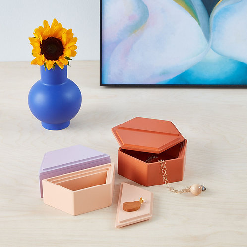 Moma Honeycomb Stacking Jewelry Boxes Warm Tones