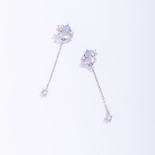 Dainty Lily with Multicolored CZ Drop Earring-MOOII